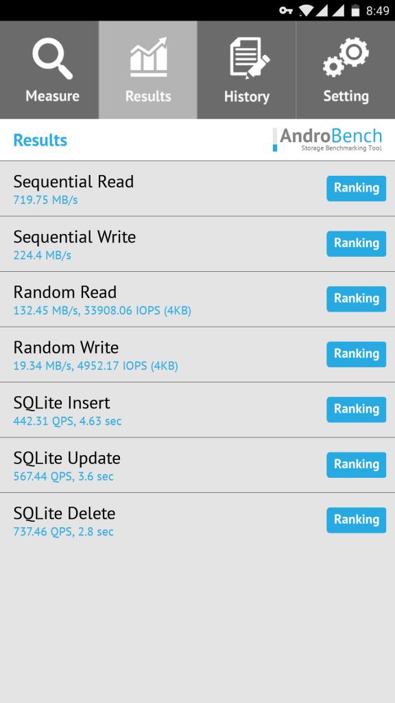 一加5手机内存读写速度测试,绝对是USF2.1